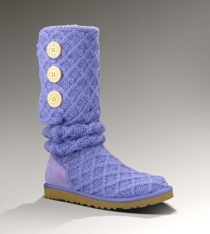 Stivali Ugg, modello alto con ricami in lana