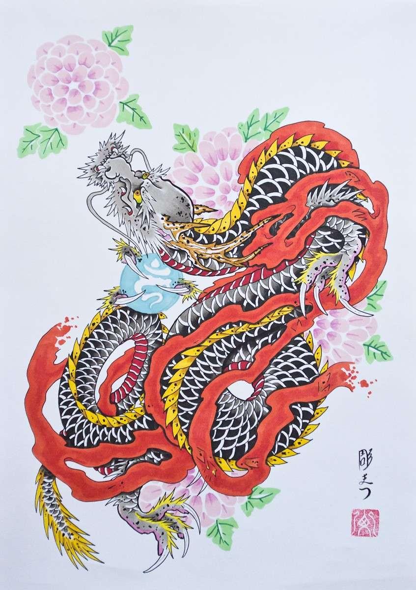 Tatuaggio giapponese con dragone