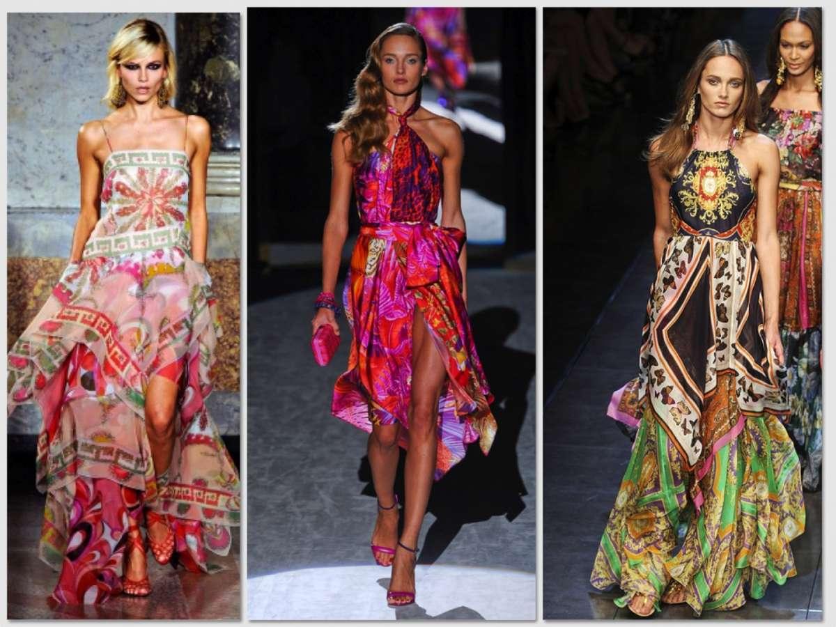 Vestiti eleganti con stampe colorate