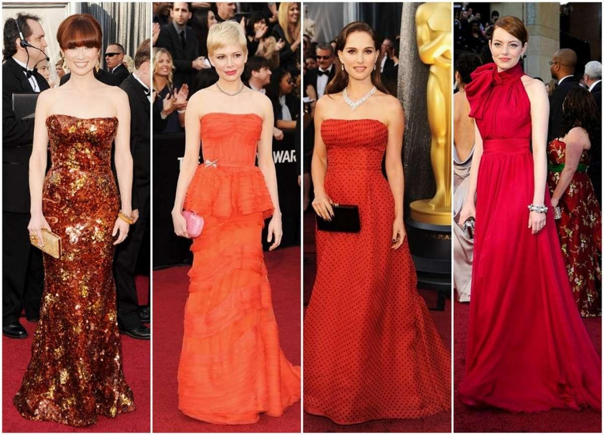 Vestiti eleganti in rosso e arancio dai red carpet
