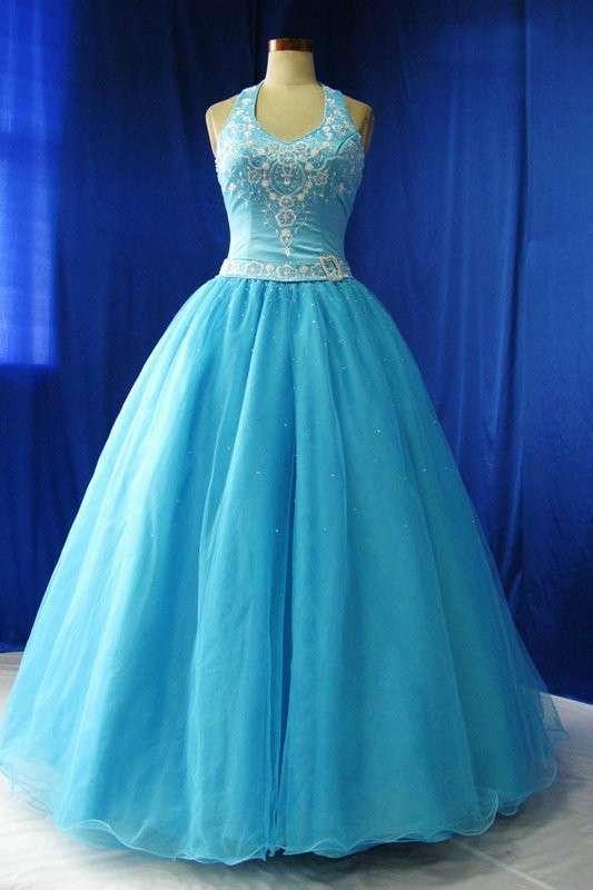 Abito da sposa blu brillante