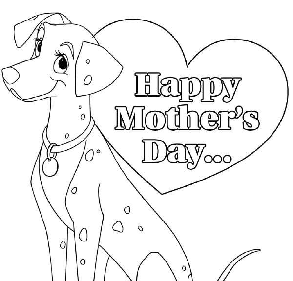 Biglietto per la festa della mamma con cagnolino e cuore