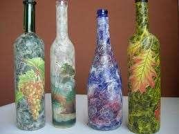 Bottiglie di vetro dipinte