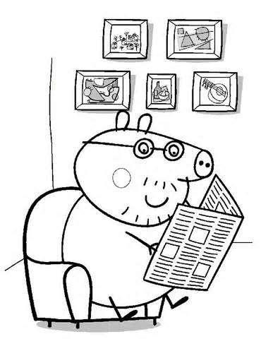 Disegno da colorare di Papà Pig