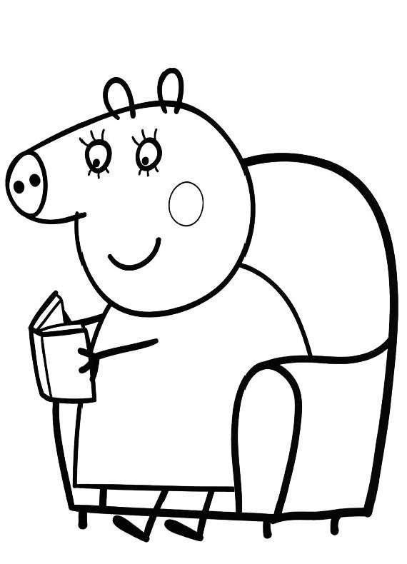 Disegno da colorare di Peppa Pig che legge
