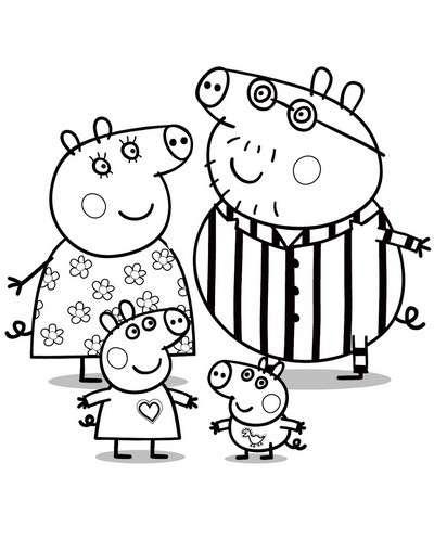 Peppa Pig con la sua famiglia