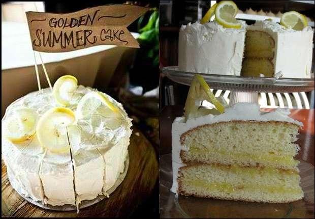 Torta di compleanno fresca con limone