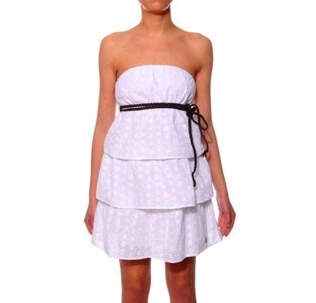 Mini abito bianco a balze