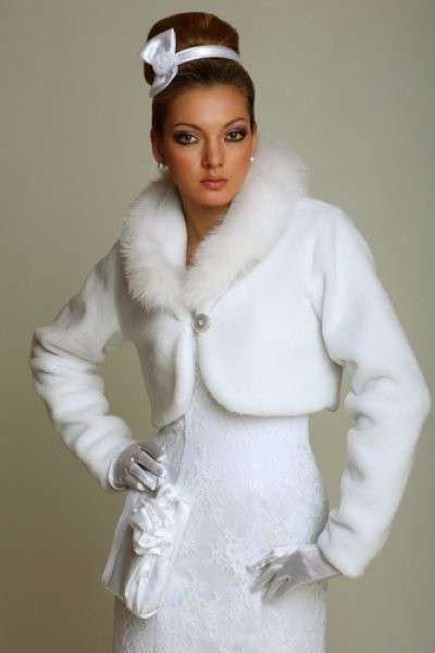 Bolero da sposa con collo di pelliccia