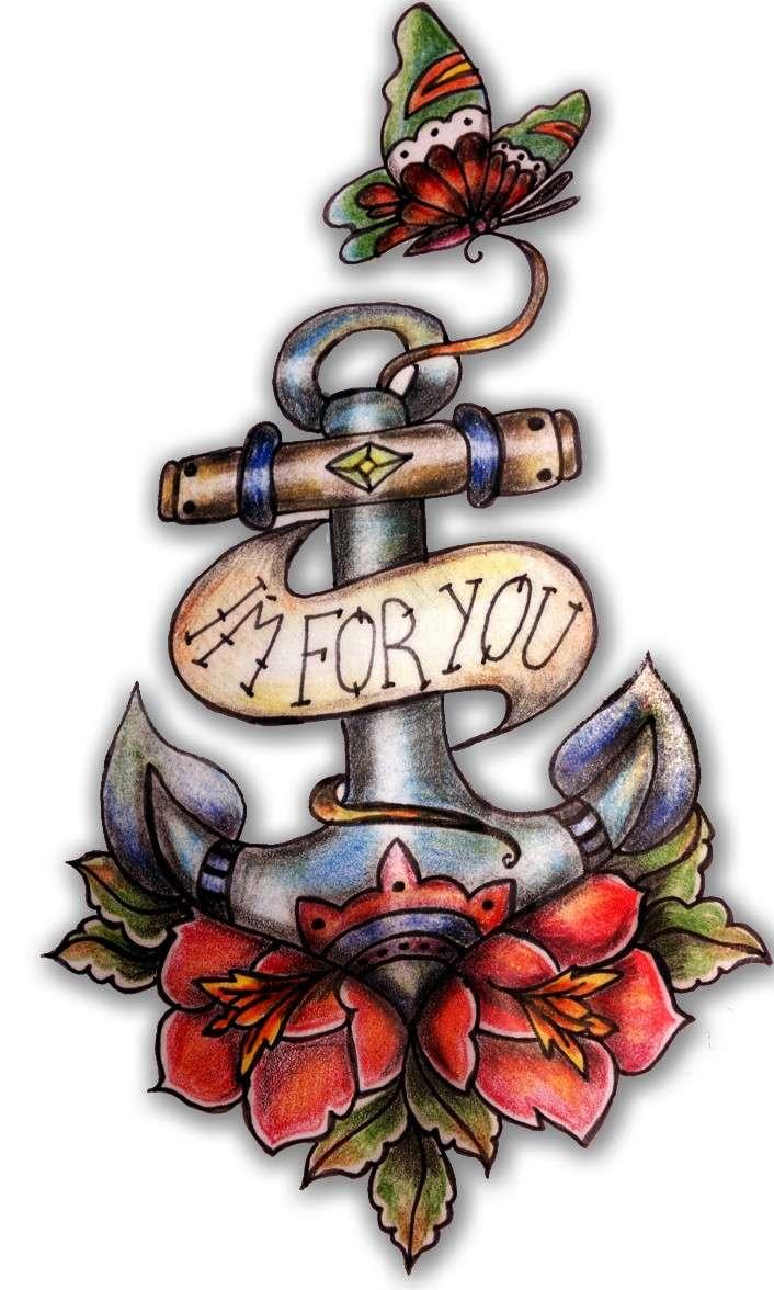tatuaggio con ancora Old school