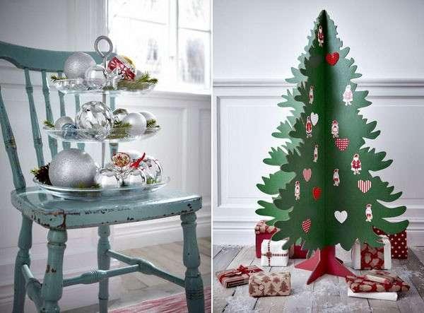 Albero di carta e palline per Natale