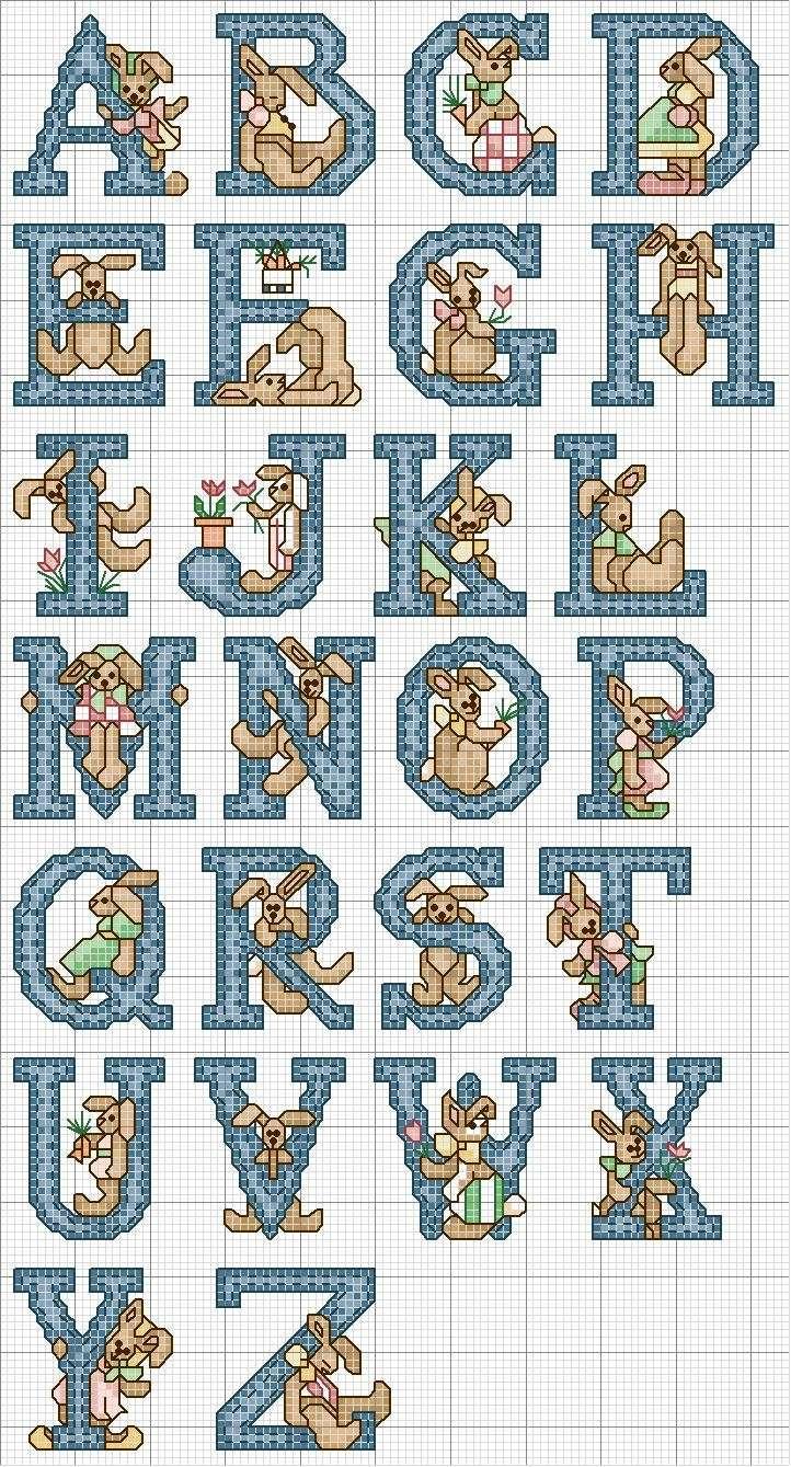 Alfabeto al punto croce con coniglietto