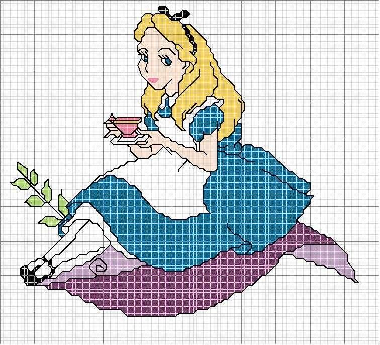 Alice nel paese delle meraviglie al punto croce