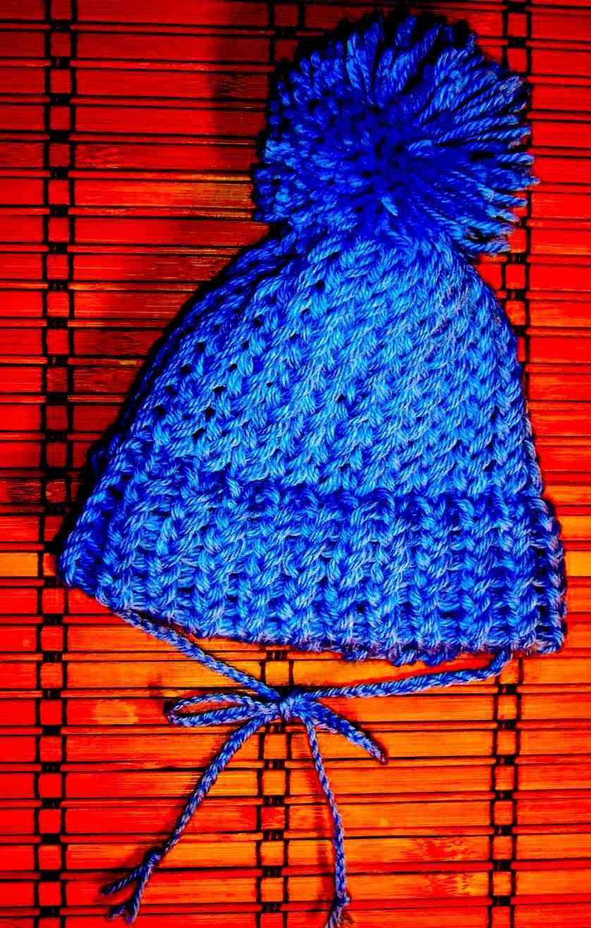 Cuffietta blu a maglia