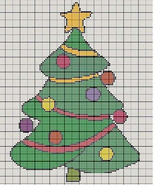Schema albero di Natale al punto croce