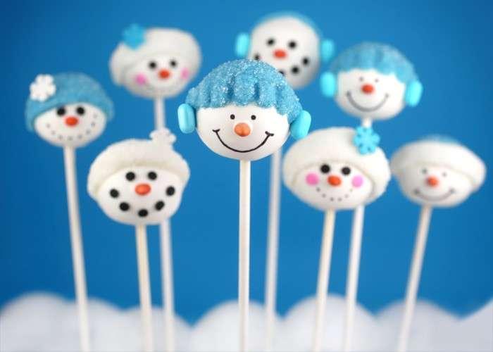Cake pops pupazzi di neve