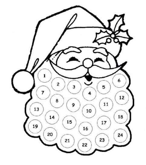 Calendario dell'Avvento nella barba di Babbo Natale