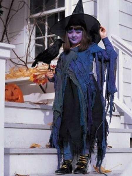 Costume da strega blu e viola