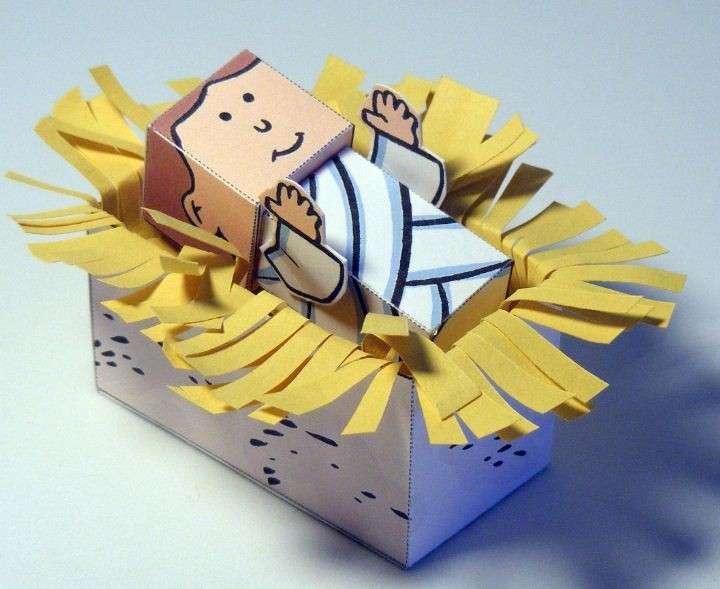 Gesù bambino di cartone per il presepe fai da te