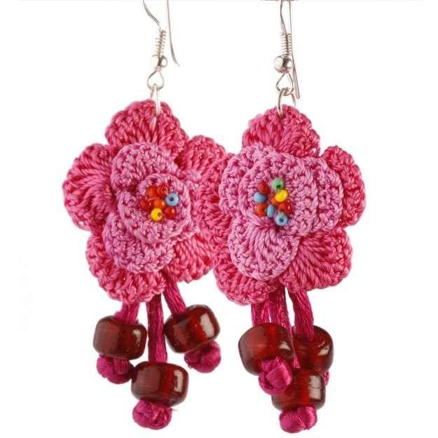 Orecchini a fiore crochet