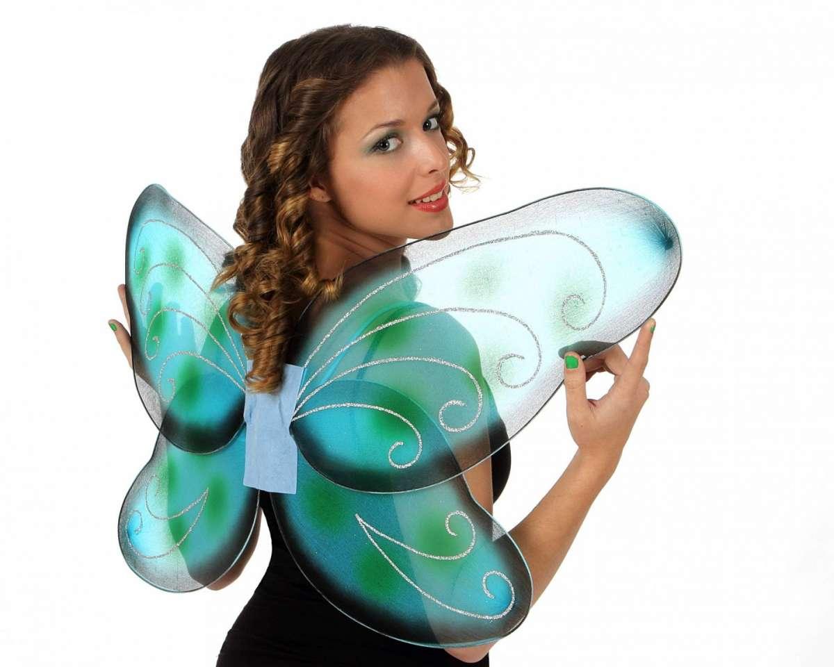 Ali da farfalla azzurre sfumate e glitter