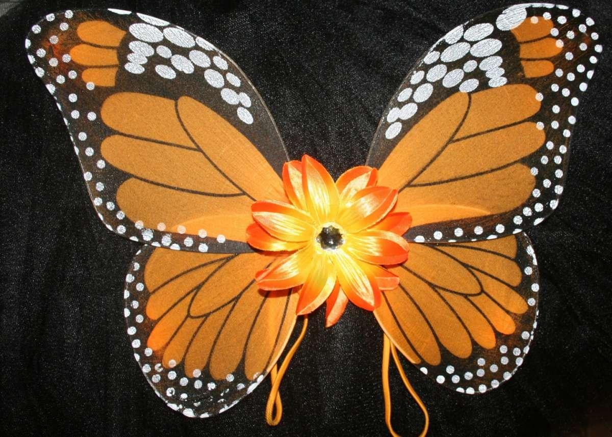 Ali da farfalla con fiore arancio