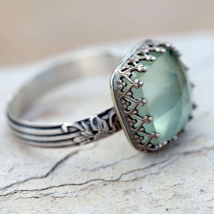 Anello argento e pietra verde acqua