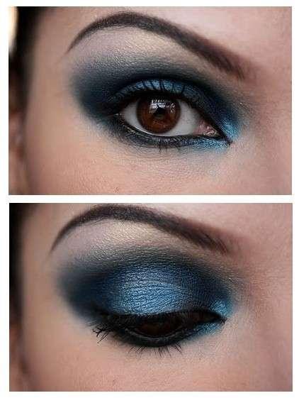Blu intenso sfumato su occhi castani