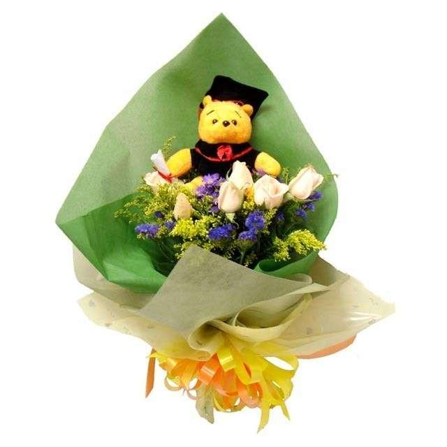 Bouquet con orsetto per la laurea