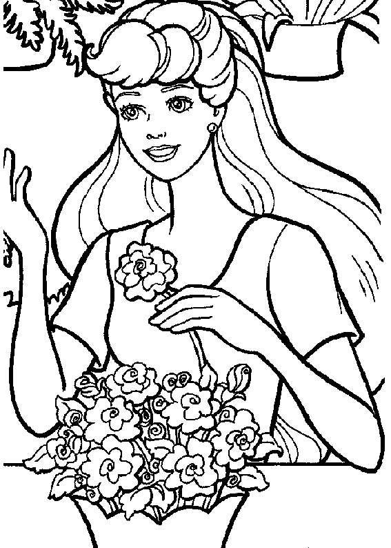 Disegno di una donna con i fiori