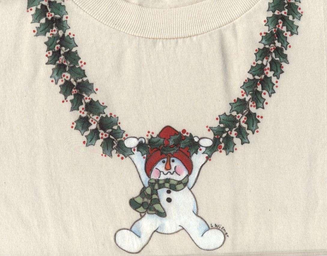 Disegno natalizio applicato su stoffa