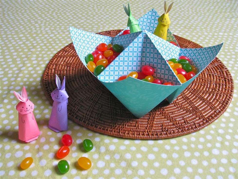 Cestino con gli origami per le caramelle