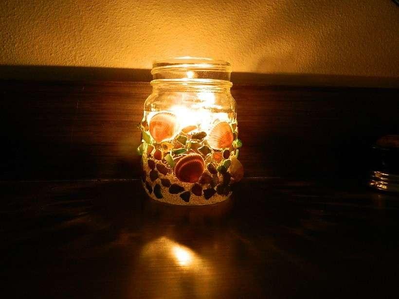 Barattolo per candele con le conchiglie