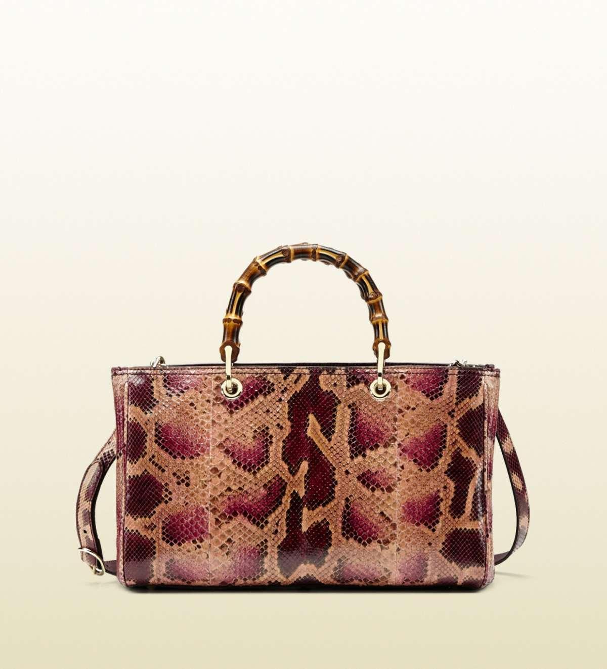 Handbag Bamboo in rettile rosa
