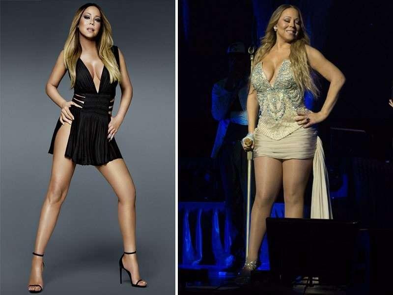 Mariah Carey con e senza Photoshop