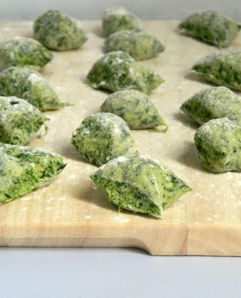 Dettaglio gnocchi di spinaci