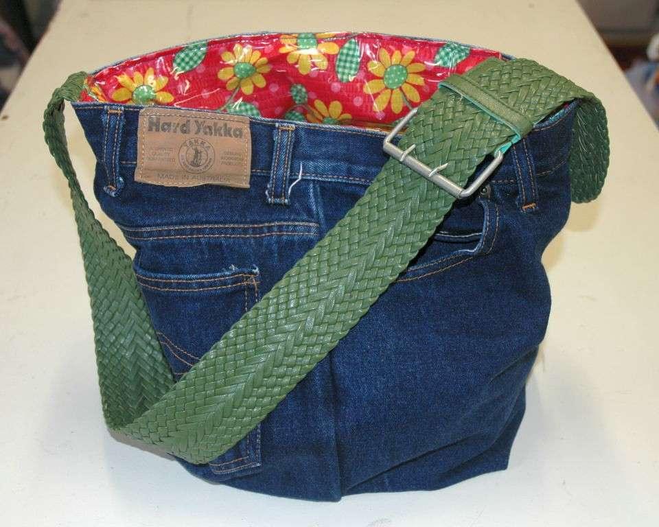 Borsa di jeans con interno colorato