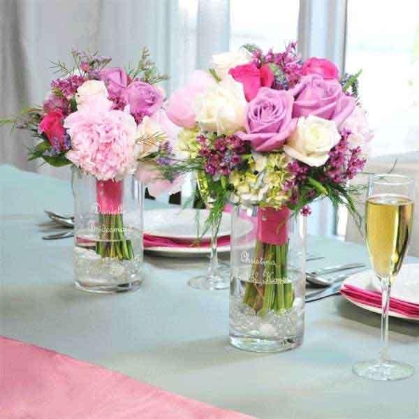 Centrotavola di fiori rosa