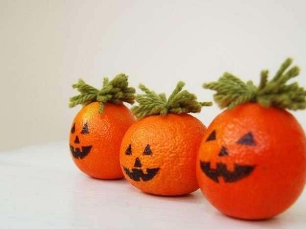 Zucche di Halloween con i mandarini