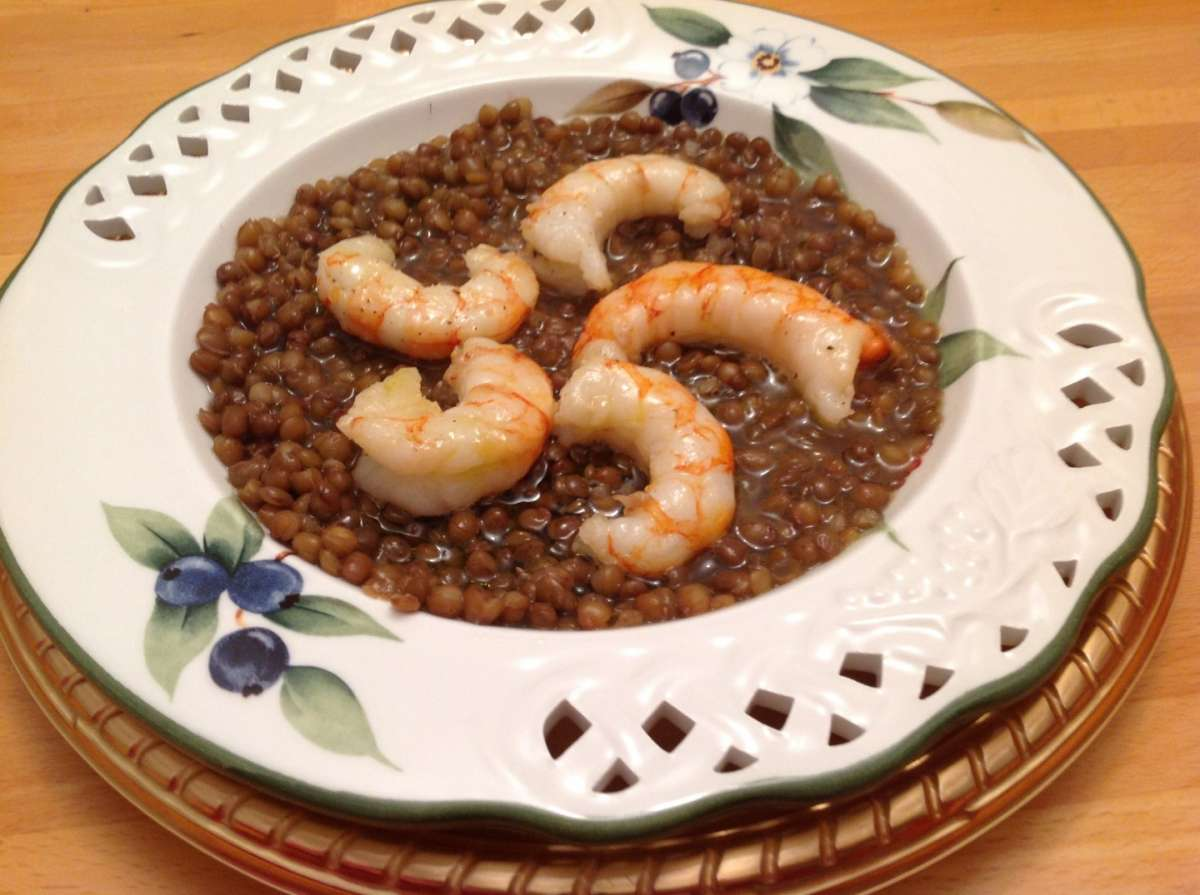 Zuppa di lenticchie e gamberetti