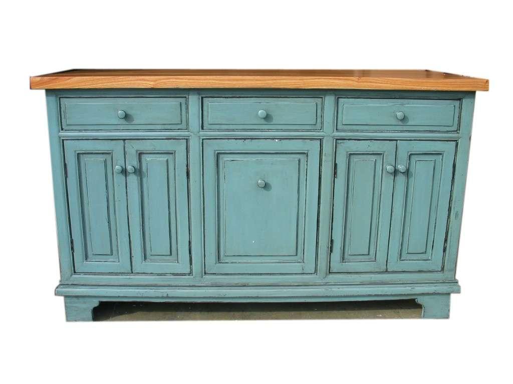 Credenza azzurra con piano in legno