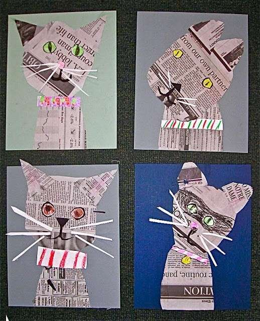 Animaletti con fogli di giornale