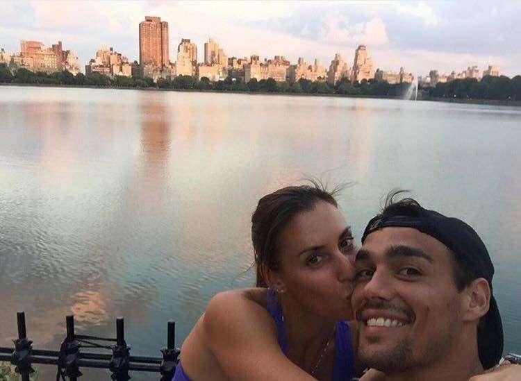 Flavia Pennetta bacia Fabio Fognini a New York
