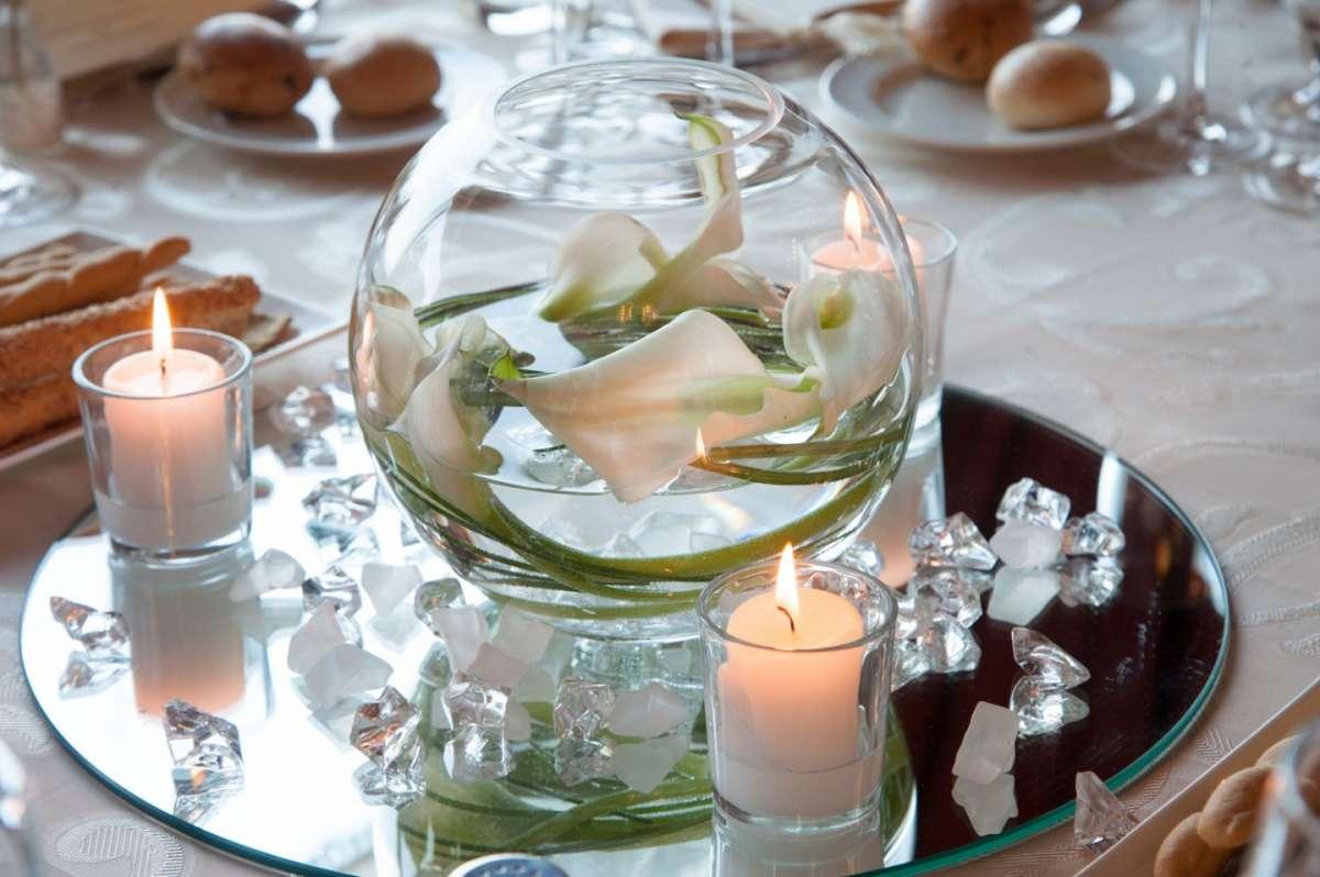 Centrotavola in vetro per il matrimonio