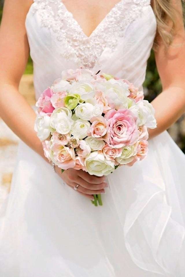 Bouquet bianco e rosa chic