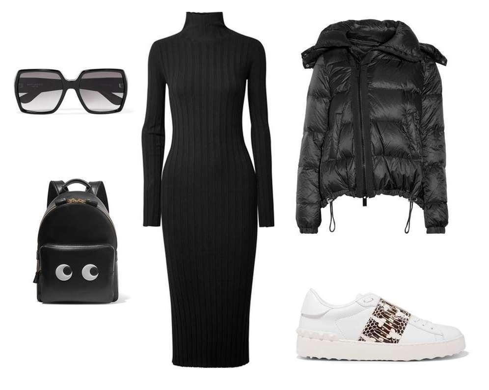 Look con abito in maglia e sneakers