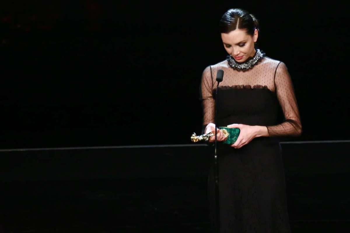 Ilenia Pastorelli sul palco dei David di Donatello 2016