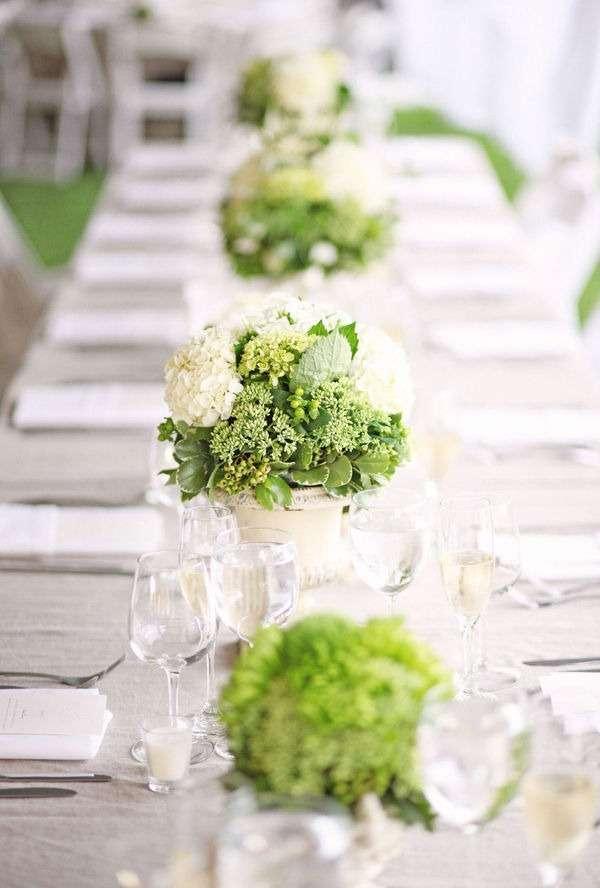 Bouquet verde per i centrotavola