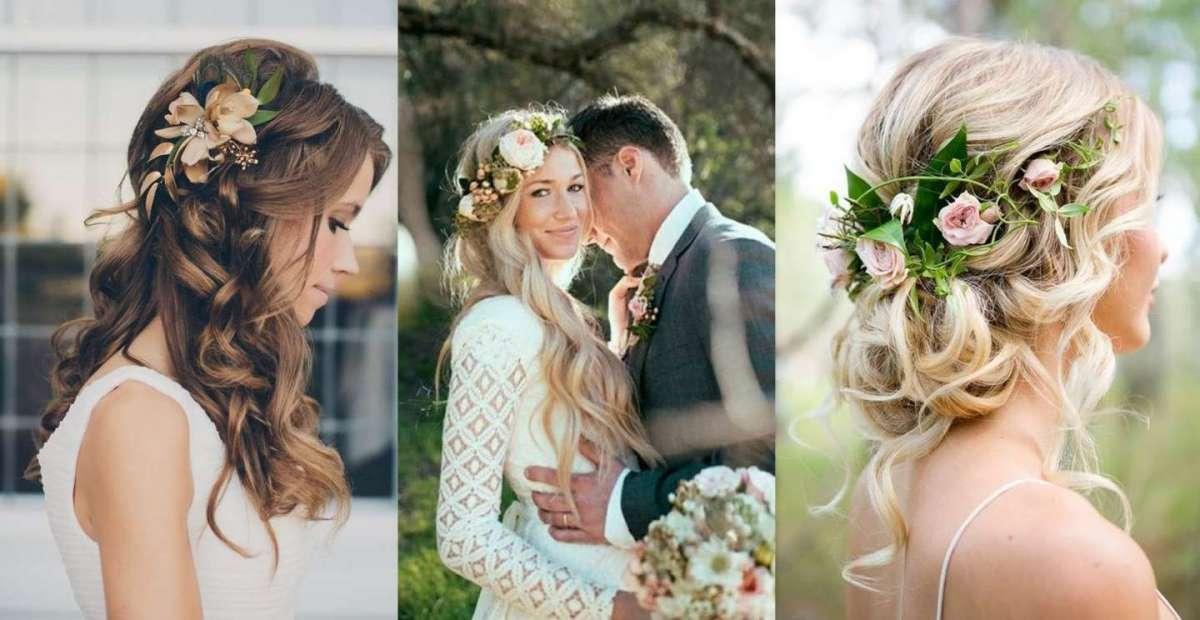 Acconciature da sposa con fiori