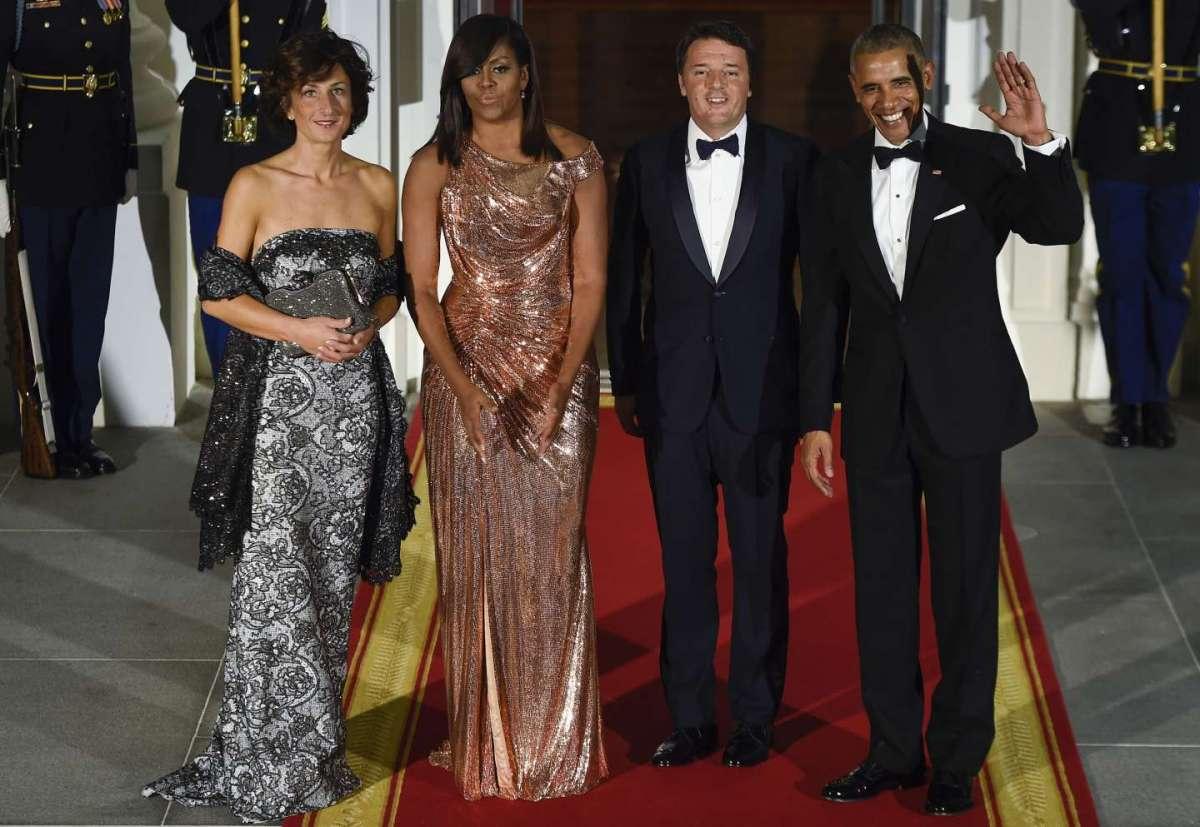 Agnese Landini con il marito Matteo Renzi alla Casa Bianca